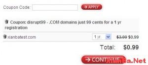 Domain 2012年5月0.99美元域名优惠码